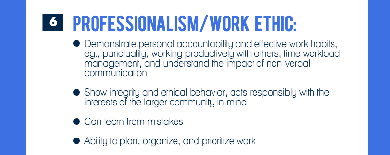 Competency #6 is professionalism/work ethic (image 7 of 9)