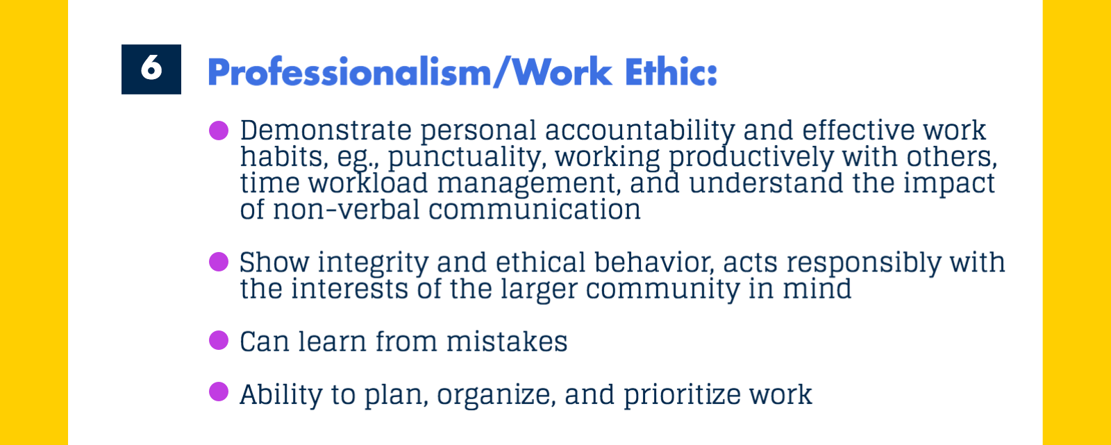 career readiness career center competency 6 is professionalism work ethic image 7 of 9