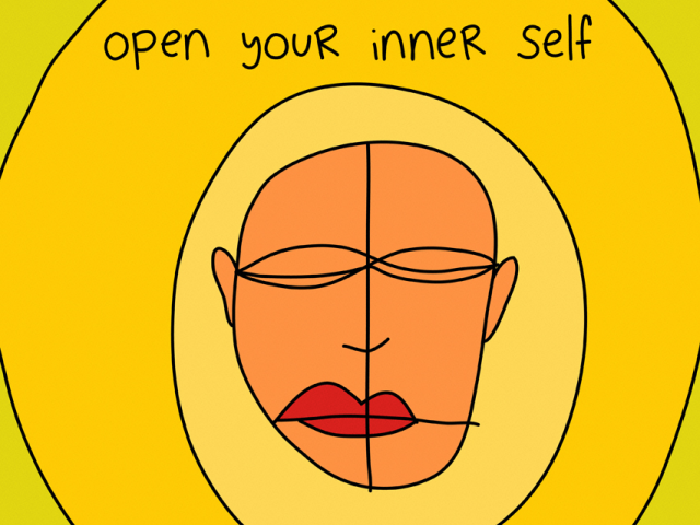 "Colorful drawing that includes the phrase ""Open your inner self"""