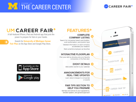 Image showing the Career Fair+ app, which is an app designed to show students lots of interactive information regarding the Fall Career Expo