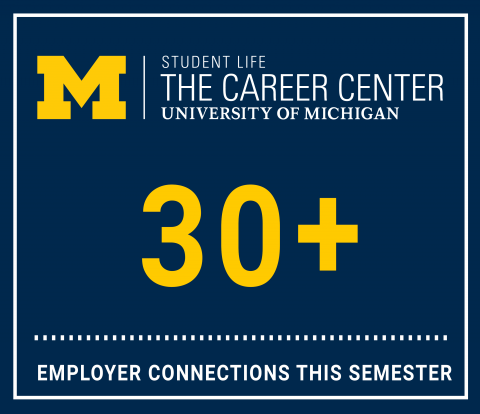 Graphic showing that over 30 employers will connect with students via Career Crawls this semester