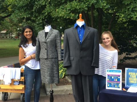 UMich students at the University Career Center diag event for highlighting the Clothes Closet
