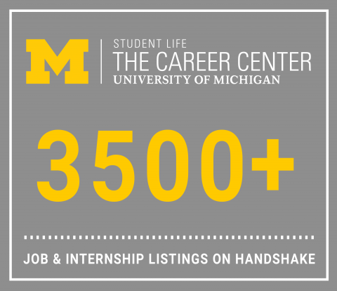 Graphic showing 3,500 plus jobs and internships in Handshake