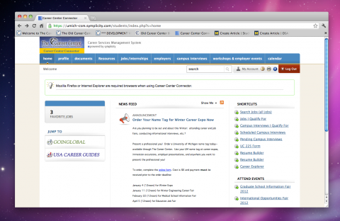 A screenshot of the Career Center Connector (c3) home page