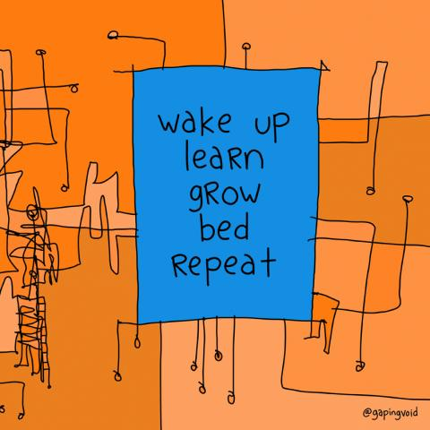 "cartoon drawing with the words ""wake up, learn, grow, bed, repeat"" listed in the middle"