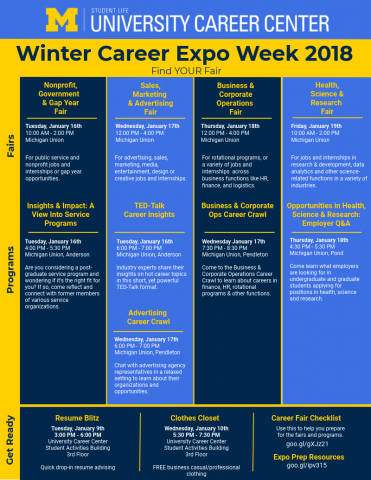 Image of fairs, events, and programs for Winter Career Expo Week