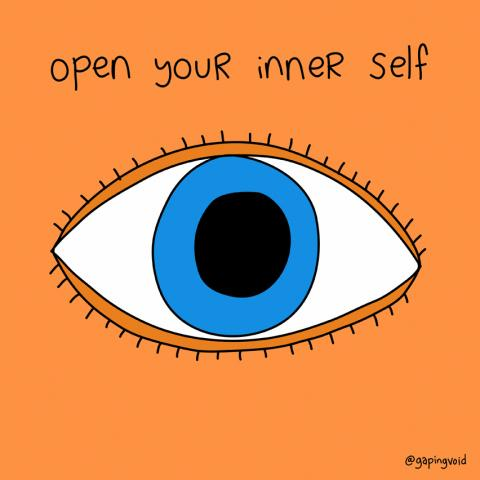 "Cartoon image that reads ""Open your inner self"""