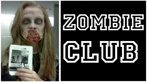"Picture of a zombie with the words ""Zombie Club"" to the right of it"