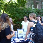 Students gathered around the University Career Center's pop-up event on the diag