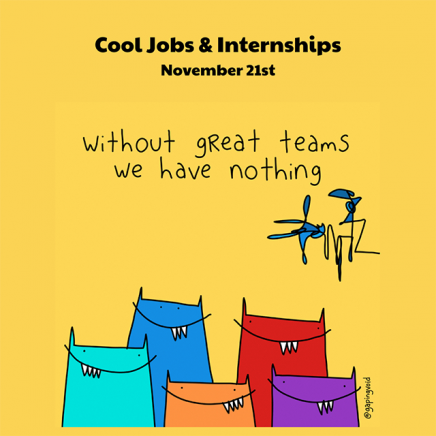 "Image that says ""Cool Jobs & Internships"" which a doodle underneath it"