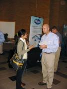 Student talking to a recruiter at the job fair.