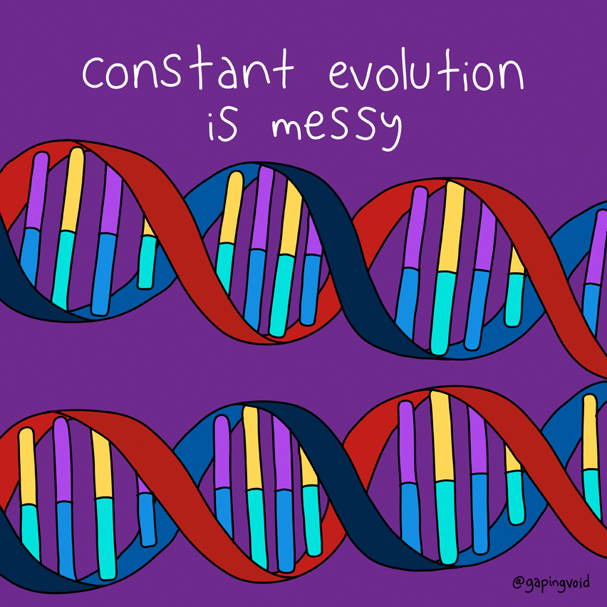 An image that reads 'constant evolution is messy'